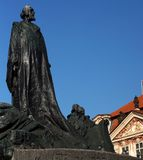 Jan Hus memorial in Prague, Czech Republic. Jan Hus bronze memorial on the town square in Prague, Czech Republic Royalty Free Stock Photography
