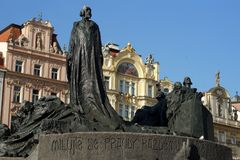 Jan Hus Memorial at the Town Square in Prague, Czech Republic. Jan Hus bronze memorial at the town square in Prague, Czech Republic Royalty Free Stock Photos