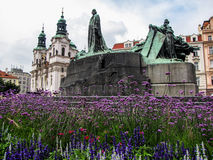 Jan Hus Memorial and the Church of St. Nicholas in Prague Old Town Square Stock Images