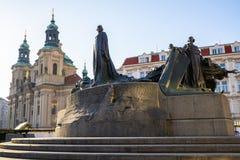 Jan Hus Memorial in old town of Prague stock images