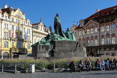 Jan Hus Memorial on Old Town Square in Prague Stock Image