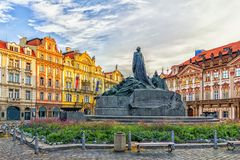 The Jan Hus Memorial in Old Town Square of Prague, Czech Republic royalty free stock photo