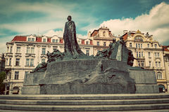 Jan Hus Memorial on the Old Town Square of Prague, Czech Republi Stock Image