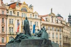 Jan Hus Memorial on the Old Town Square in Prague Stock Image