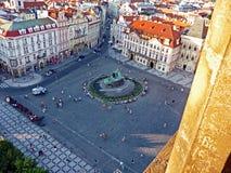 Jan Hus Memorial, Old Town Square, Prague stock images