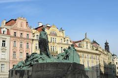 Jan Hus Memorial on Old Town Square , Stare Mesto view, Prague Stock Photos