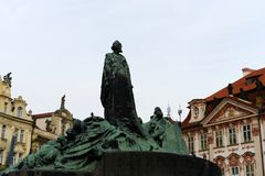 Jan Hus Memorial on Old Town Square , Stare Mesto view, Prague, Czech Republic. Erected on July 6,1915. PRAGUE, CZECH REPUBLIC - NOVEMBER 25, 2012: Capital the stock photography
