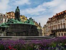 Jan Hus Memorial in Prague Old Town Square Royalty Free Stock Photo