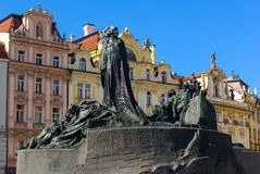 The Jan Hus Memorial Statue in Prague. Old Town Square. One of the most important persons in Czech History stock photo