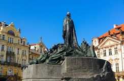 The Jan Hus Memorial Statue in Prague. Old Town Square. One of the most important persons in Czech History stock image