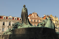 Jan Hus Monument. And Ministry of Local Development, Prague, Czech Republic Royalty Free Stock Photo