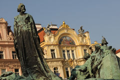 Jan Hus Monument. And Ministry of Local Development, Prague, Czech Republic Stock Photo