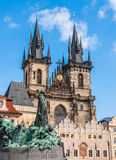 Jan Hus monument & The Church of Our Lady before Tyn Royalty Free Stock Image