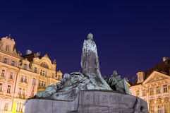 Jan Hus monument night Old Town Prague Stock Images