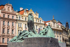 Jan Hus monument, Old Town Square of Prague Stock Image