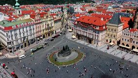 Jan Hus monument on Old Town Square in Prague stock video