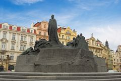 Jan Hus monument. The Jan Hus monument at the old town square in Prague, Czech Republic during day Royalty Free Stock Photo