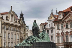 Jan Hus monument in Old Town Square in Prague Stock Photo