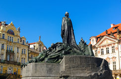Jan Hus Monument Statue. The Jan Hus Memorial Statue in Prague Old Town Square. One of the most important persons in Czech History Stock Images