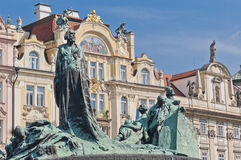 Jan Hus statue. Located at Old Town Square Royalty Free Stock Photo