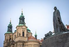 Jan Hus Statue, Praag, Tsjechische Republiek Stock Foto's