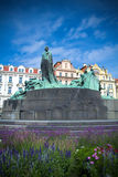 Jan Hus statue in Prague. Detail of Jan Hus statue in Old Town Square, Prague Stock Photo