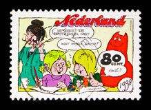 Jan Jans & the kids: Cathy and Jeremy write a letter, Comics serie, circa 1998. MOSCOW, RUSSIA - MAY 13, 2018: A stamp printed in Netherlands shows Jan Jans & vector illustration
