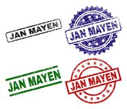 Damaged Textured JAN MAYEN Stamp Seals. JAN MAYEN seal prints with corroded surface. Black, green,red,blue vector rubber prints of JAN MAYEN title with corroded stock illustration