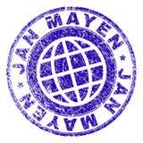 Scratched Textured JAN MAYEN Stamp Seal. JAN MAYEN stamp print with grunge texture. Blue vector rubber seal print of JAN MAYEN text with scratched texture. Seal royalty free illustration