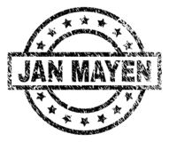 Grunge Textured JAN MAYEN Stamp Seal. JAN MAYEN stamp seal watermark with distress style. Designed with rectangle, circles and stars. Black vector rubber print stock illustration