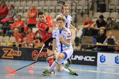 Jan Natov and Ondrej Mikes - floorball Royalty Free Stock Photo