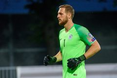 Jan Oblak, goalkeeper of team Slovenia. RIGA, LATVIA. 10th of June, 2019. UEFA EURO 2020 Qualification game between national football team of Latvia and team stock photography