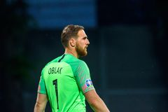 Jan Oblak, goalkeeper of team Slovenia. RIGA, LATVIA. 10th of June, 2019. UEFA EURO 2020 Qualification game between national football team of Latvia and team stock images