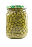 Jan of peas. Jar of peas isolated on the white Royalty Free Stock Photo