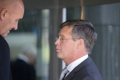 Jan Peter Balkenende Checked By Bodyguard At The Memorial Ceremony At The Concertgebouw At Amsterdam 27-10-2018 The Netherlands Fo. Jan Peter Balkenende Checked stock photo