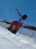 Jan Scherrer SUI Half Pipe. Race World Cup snowboard Half Pipe in Valmalenco Italy Royalty Free Stock Photography