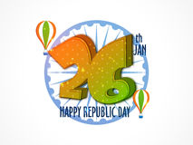 26 Jan Text Design for Republic Day. Stylish 3D Text Design 26 Jan with National Flag Colours Hot Air Balloons and Ashoka Wheel for Indian Republic Day Royalty Free Stock Photography