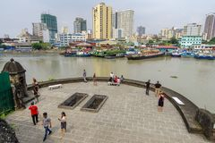 Jan 21,2018 Tourist waching Manila pasig river view from Fort Santiago view deck, Intramuros, Manila. Philippines Royalty Free Stock Photography