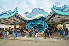 Jan 27,2018 Tourists waiting for admission at Ocean Adventure, Subic. Philippines Royalty Free Stock Image