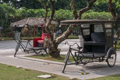 Jan 21,2018 Tricycle in Fort Santiago , Intramuros, Manila. Philippines Stock Photography