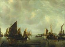 Jan. van de Cappelle - eine Fluss-Szene mit den niederländischen Schiffen beruhigt lizenzfreie stockfotografie