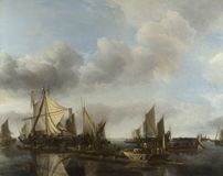 Jan van de Cappelle - A River Scene with a Large Ferry royalty free stock photography