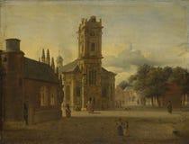 Jan. van Der Heyden - ein Quadrat vor einer Kirche lizenzfreie stockfotografie