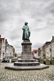 Jan Van Eyck. Sculpture of painter Jan Van Eyck in Bruges, Belgium Royalty Free Stock Photography