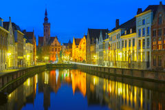 Jan Van Eyck Square and Canal Spiegel in Bruges, Royalty Free Stock Image