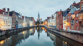 Jan van Eyck Square over the waters of Spiegelrei, Bruges Stock Photography