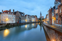 Jan van Eyck Square over the waters of Spiegelrei, Bruges Royalty Free Stock Photos