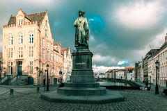 Jan Van Eyck Square and Spiegel in Bruges, Belgium Stock Image