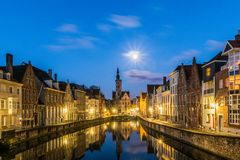 Jan Van Eyck Square. Spiegelrei canal and Jan Van Eyck Square In Brugge, Belgium royalty free stock photography