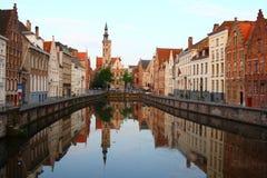 Jan van Eyckplein. Old town of Bruges in Belgium at sunset time (Jan van Eyckplein, Bruges, Belgium Royalty Free Stock Photos